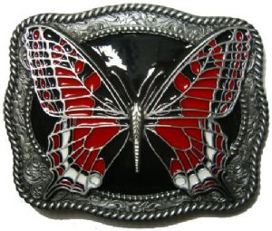 Butterfly (red) Belt Buckle with display stand. Code TS5